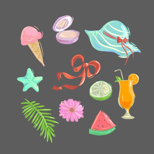 Bright Summer Stickers for Stylish Photo Editing App