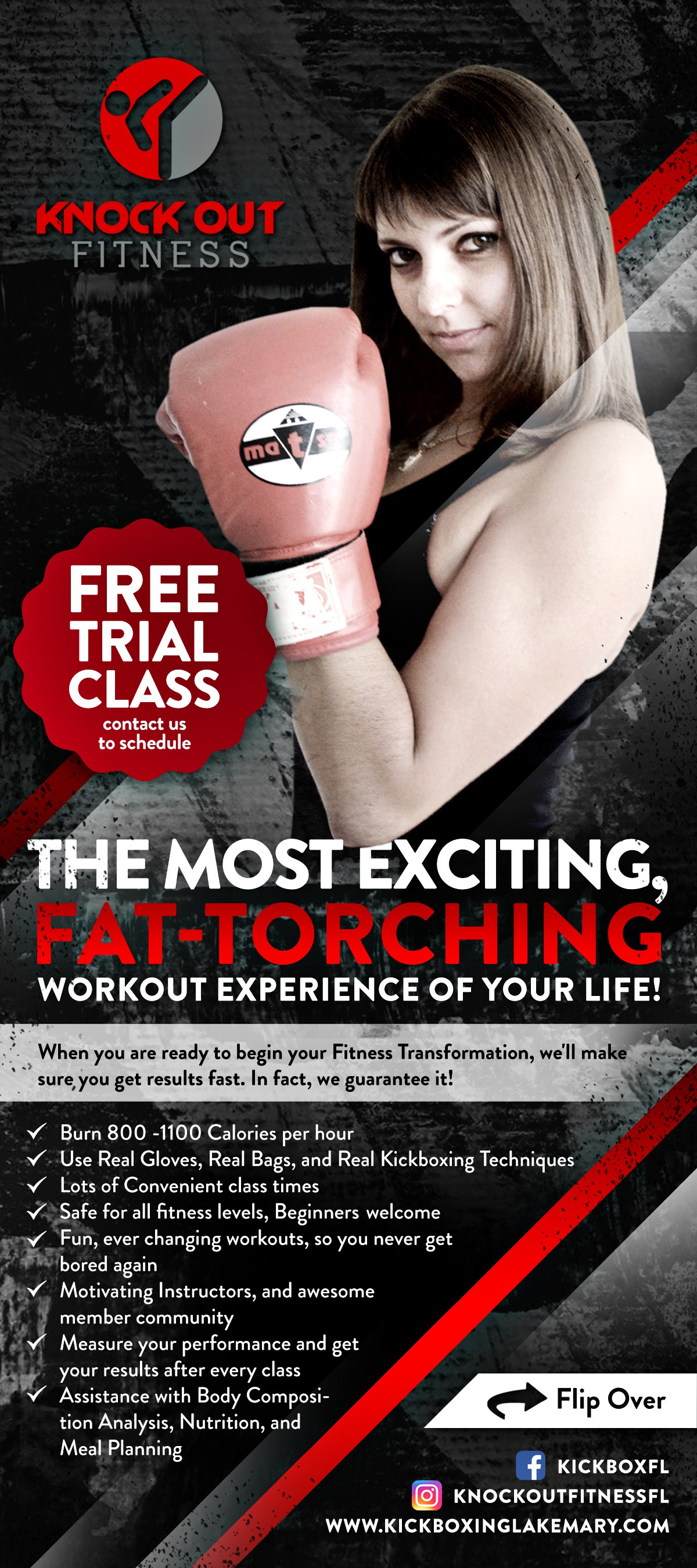 Rack card display for Fitness Kickboxing Facility