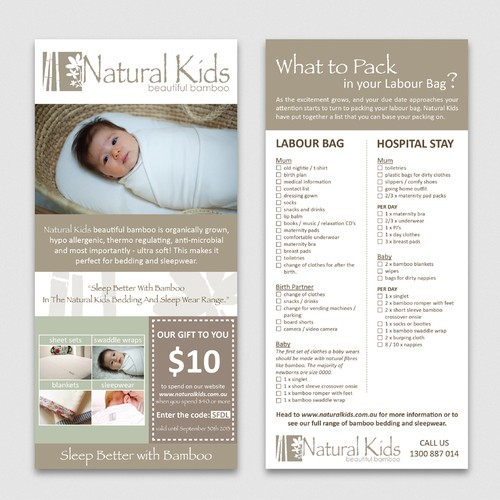 Help Natural Kids with a new postcard or flyer