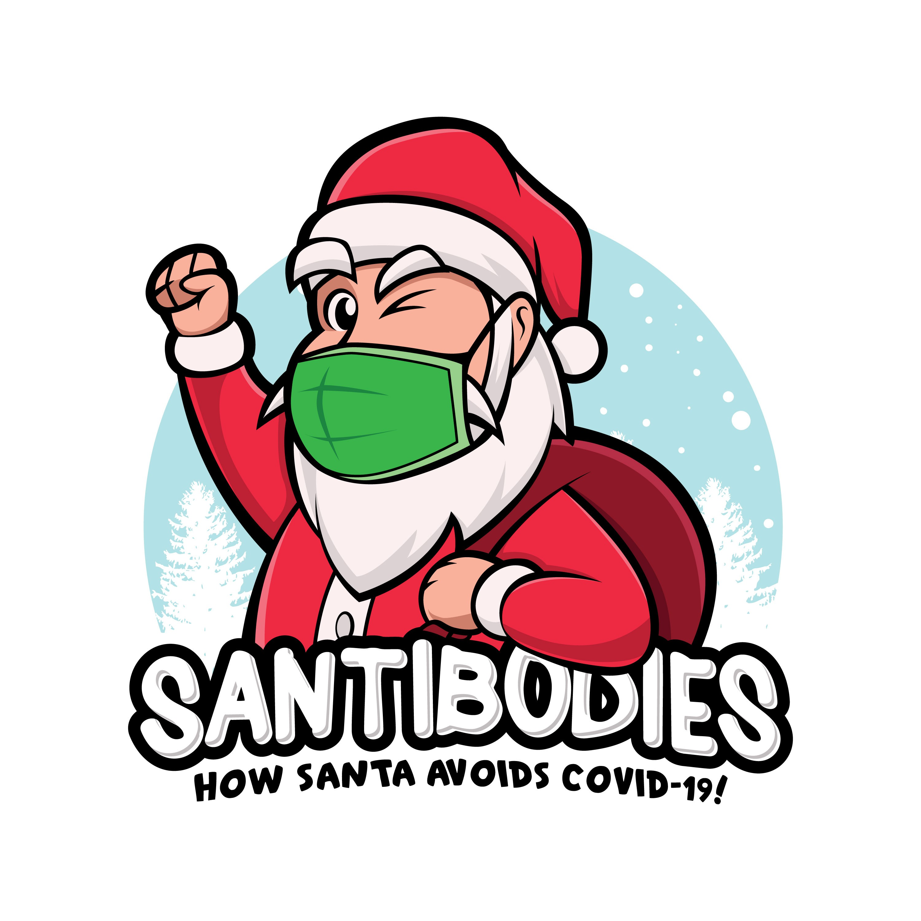 Santa wearing a Covid-19 mask to promote mask compliance