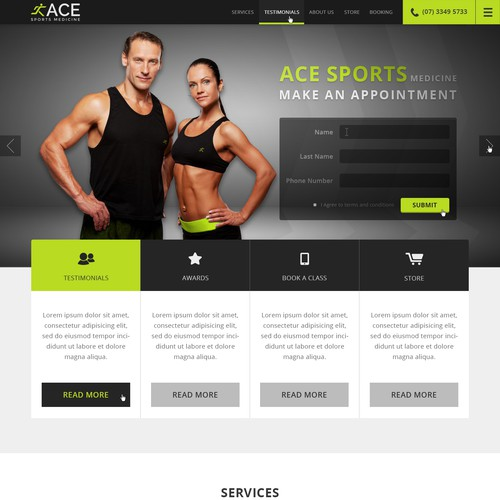 Web design for ACE Sports Medicine