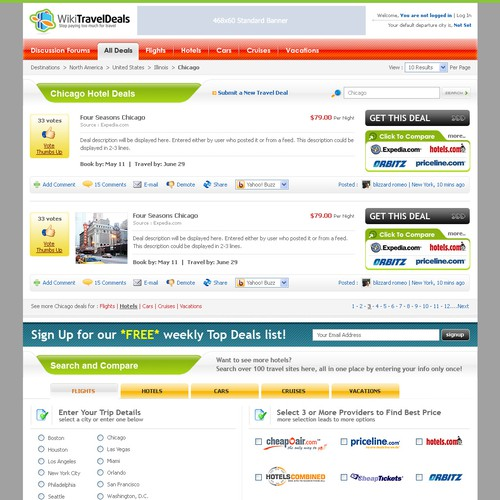 GUARANTEED 1-Page Web 2.0 for User Generated Travel Deals Site