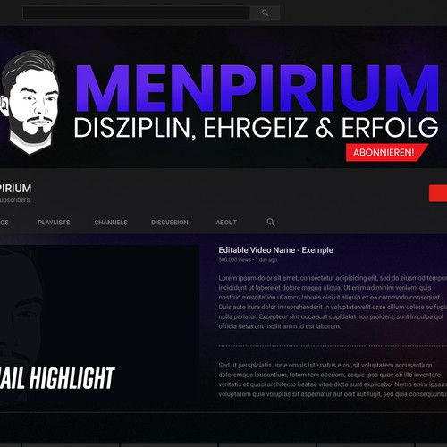 Youtube Banner for a Masculine Channel
