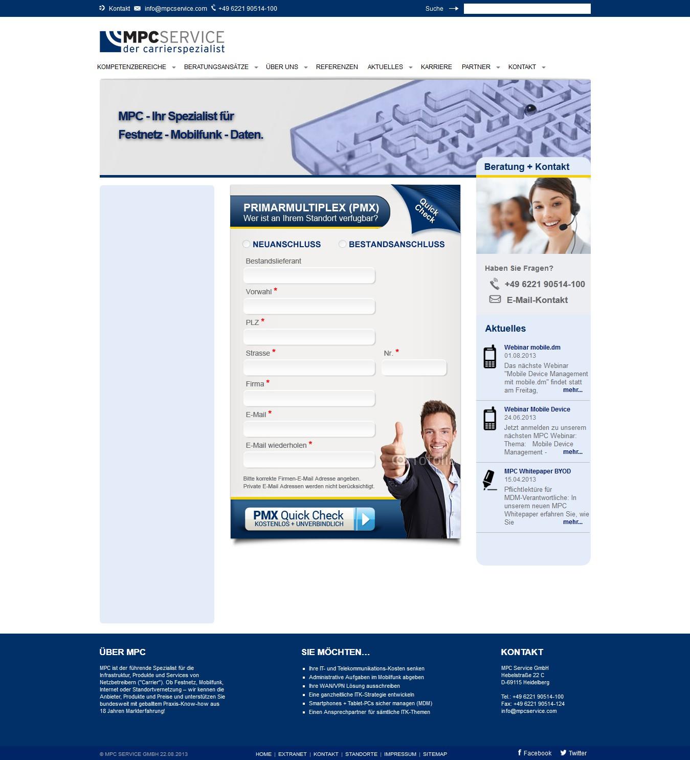Gestaltung Formular für MPC Service GmbH