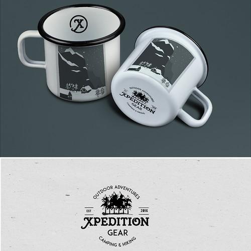 Vintage enamel mug for a premium camping/hiking company