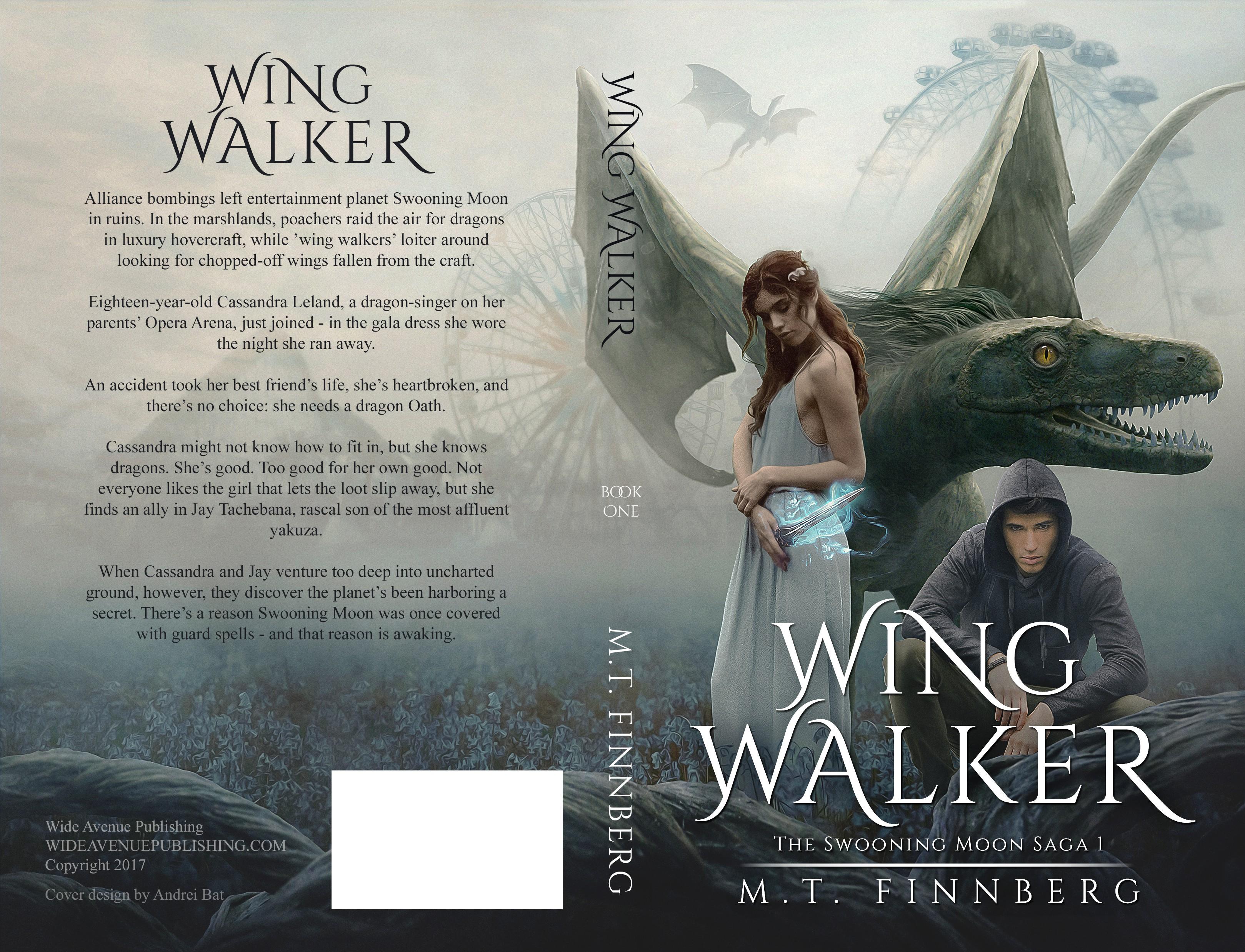 YA sci fantasy book cover: Dragon, magic, girl