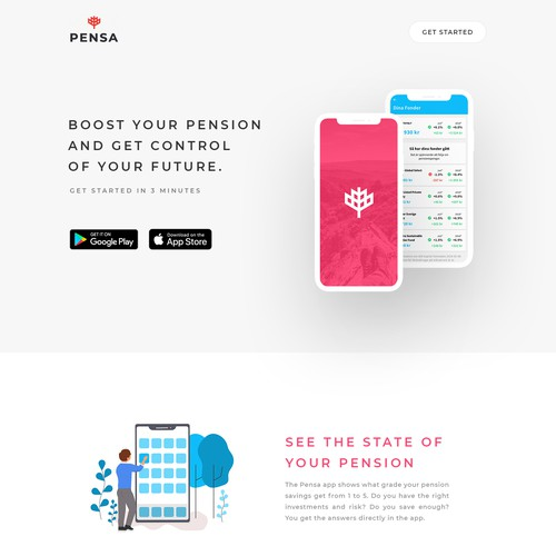 Minimilistic clean design for a fintech website