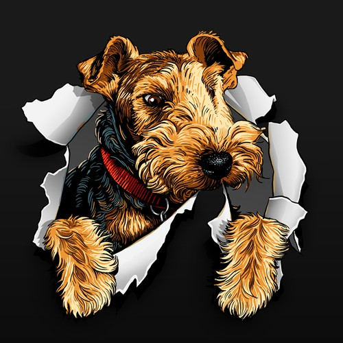 Classic illustration of Welsh Terrier head tearing through the background for logo and web site desi
