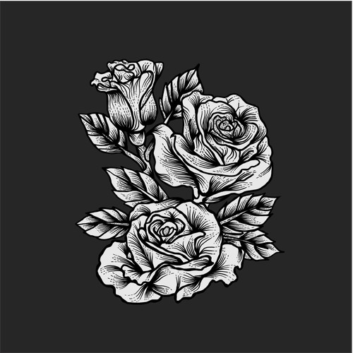 T-Shirt design concept for rose flower