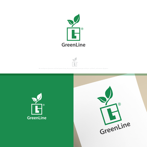 Clever logo using negative space for an  aluminum and steel planter box manufacturer.