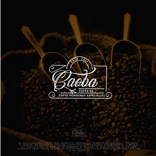 Caoba coffe logo design concept
