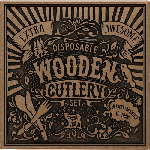 Hand-Drawn Style Design for Wooden Cutlery Set