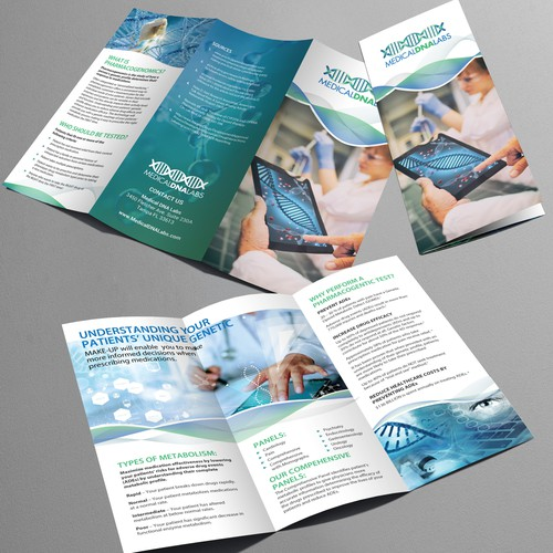 Tri-fold brochure for MedicalDNALabs