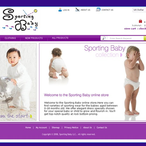 Website for Sports Theme Baby Clothing Company