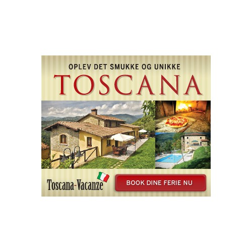 Create the next banner ad for Toscana Vacanze