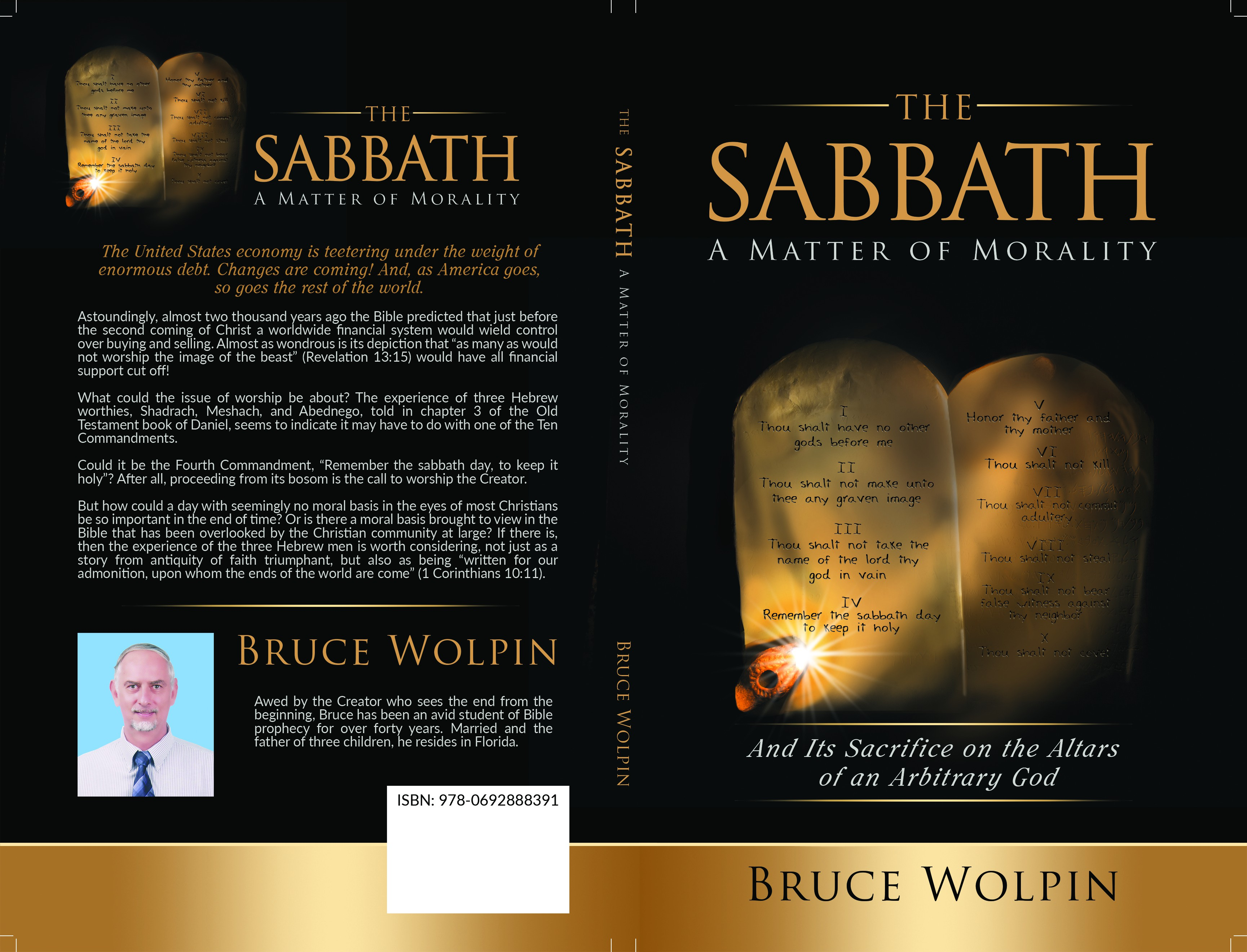 Design a book cover depicting Moses receiving Ten Commandments, then offered on altar of sacrifice