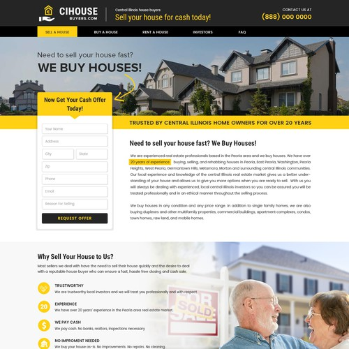 Home Page/Landing Page Design for a We Buy Houses Website
