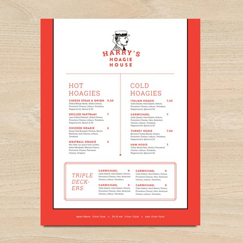 Clean menu design with vintage twist