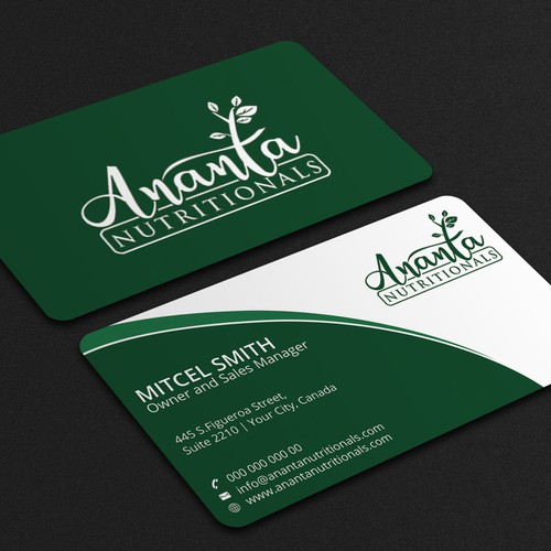 Business card for Nutritional company