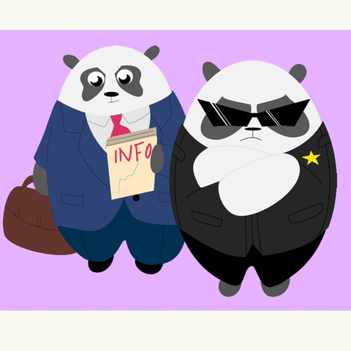 Flat Panda Designs For Infographic