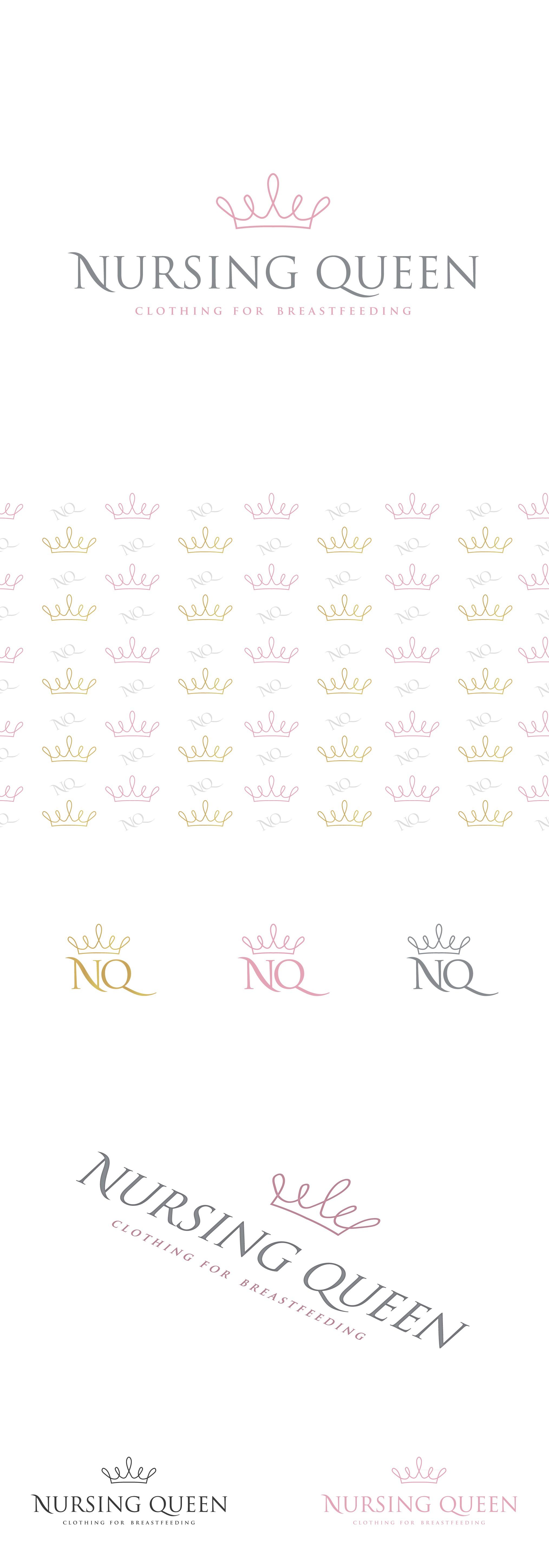 Create a pretty/classy logo for Nursing Queen: clothing for breastfeeding