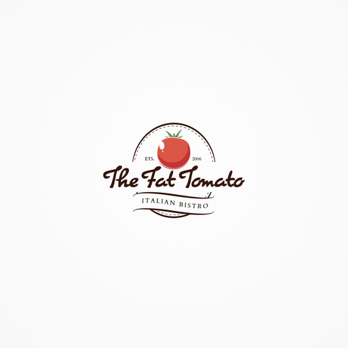 "Creation of a clean and vintage logo for the restaurant ""The Fat Tomato"""