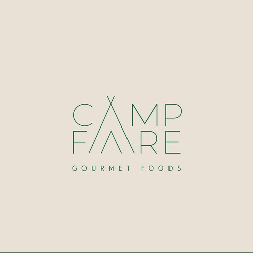 Minimal logo for a gourmet line of camping meals