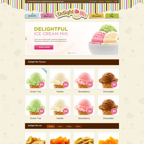 Fun and Tasty website for Ice Cream Mix