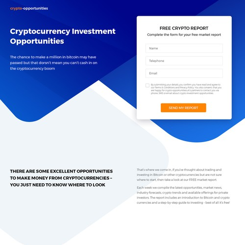 Crypto Opportunities Landing Page