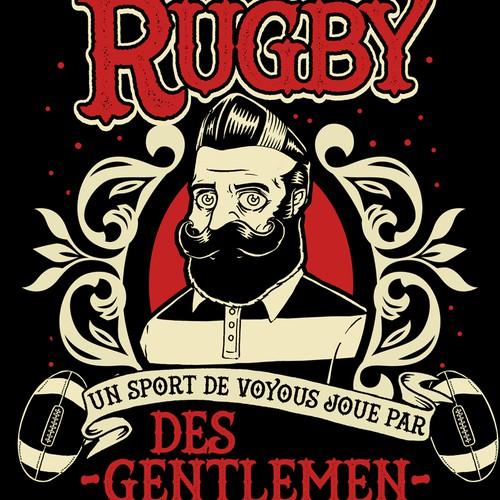 Create cool retro looking gentlemen with rugby twist tee shirt