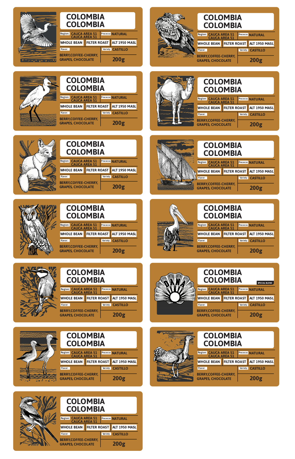 Coffee packaging design (Bag and labels)