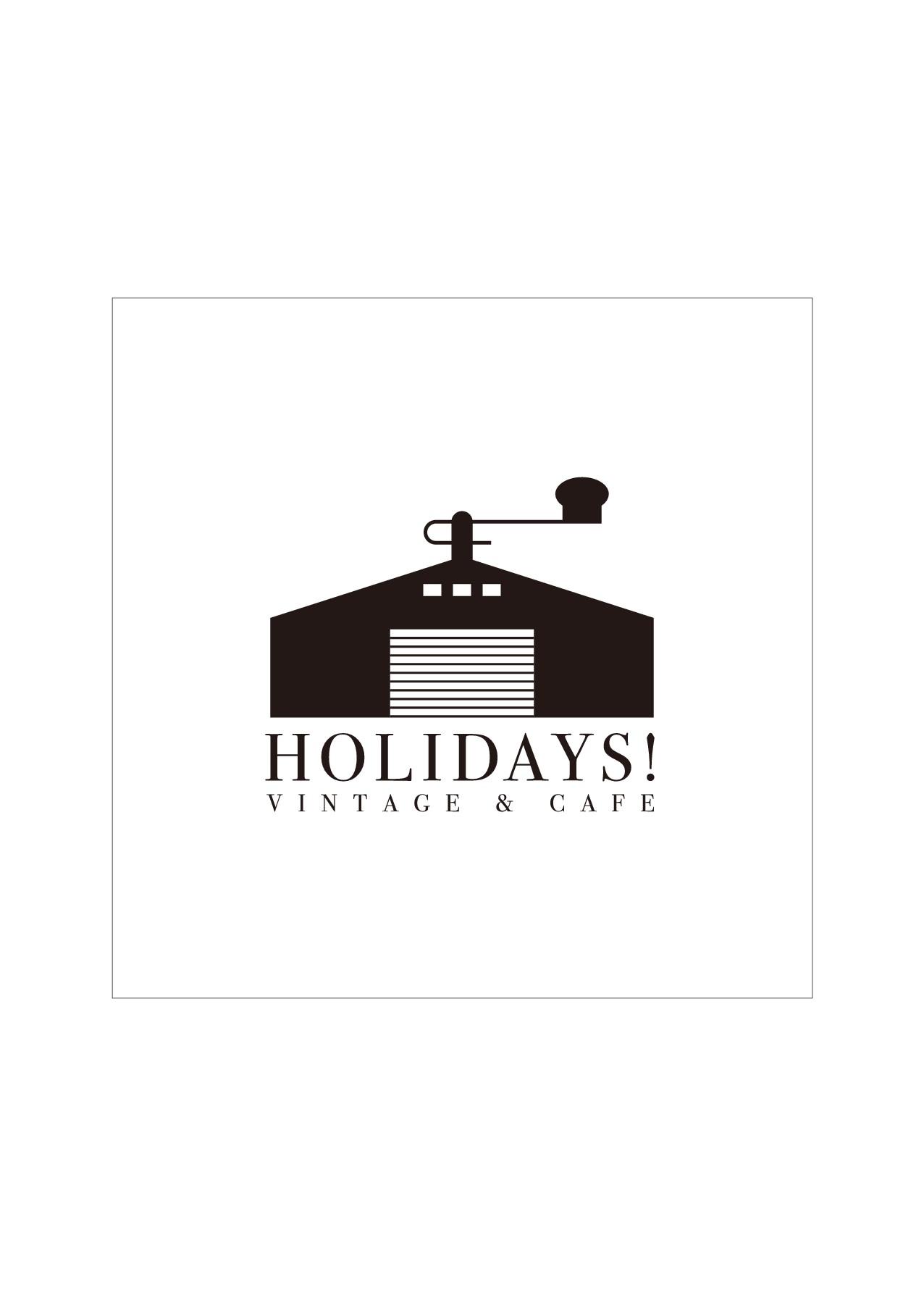福岡県糸島市で倉庫を利用したカフェ「HOLIDAYS!」のロゴ