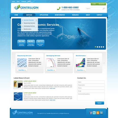 website design for Centrillion Biosciences, Inc.