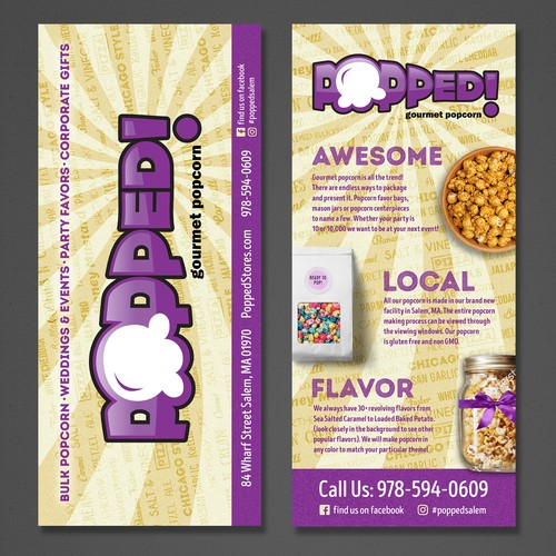 Double Sided Flyer for Gourmet Popcorn