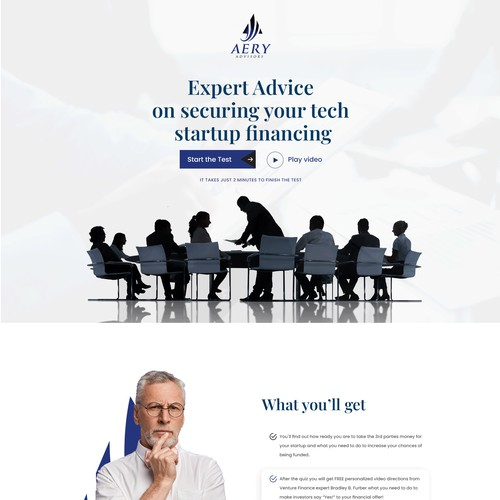 High converting Investor Readiness Test Landing Page design