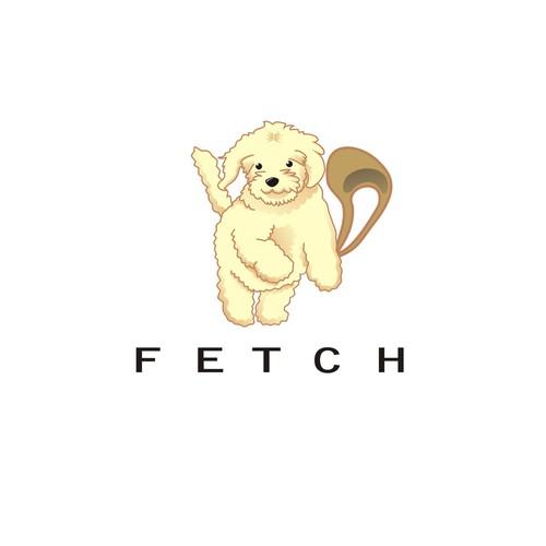 Fetch Dog Cartoon Illustration for App Company