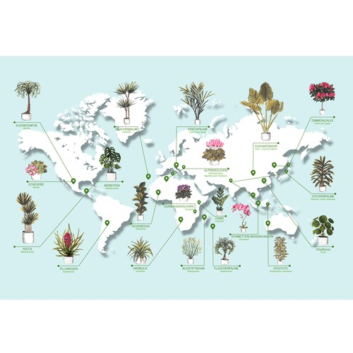 World map of house plants