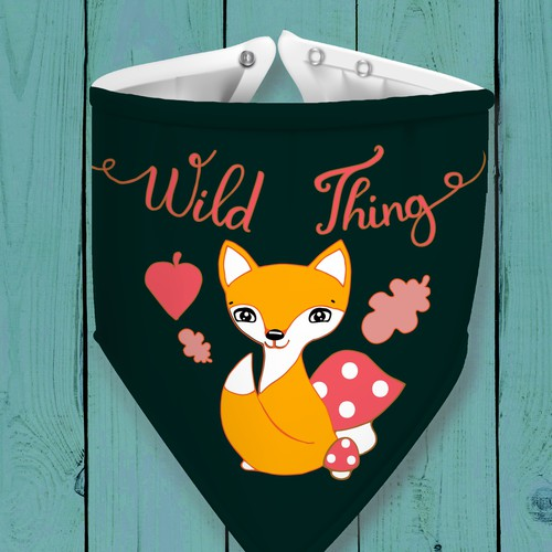 Baby bandana bib with fox