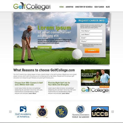 GolfCollege.com lead gen landing page