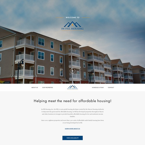 Homepage design for Georgia based community apartment