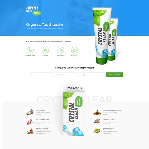 Natural Toothpaste  landing page