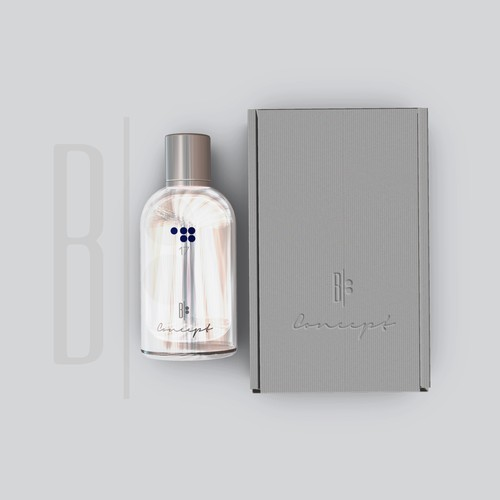 Elegant parfume bottle label and box design
