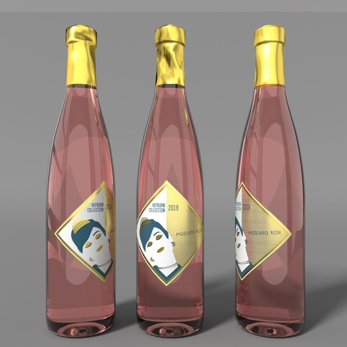 "wine label for a Moscato called ""Hepburn collection"""