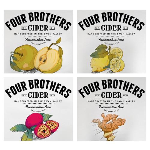 illustration for 4 Brothers Cider's bottle label