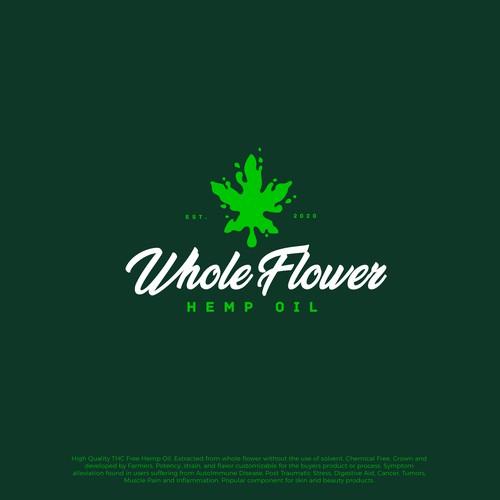 """Whole Flower - hemp oil"" logo design."