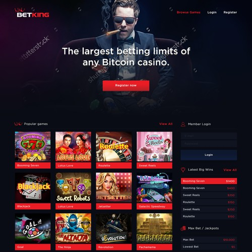 Cool Homepage for Online betting page