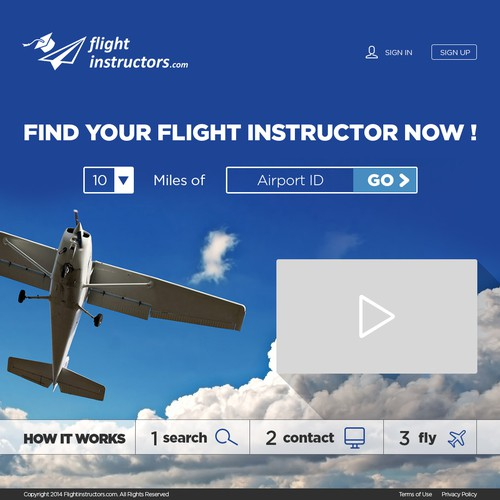 Create a gorgeous landing page (home page) for FlightInstructors.com