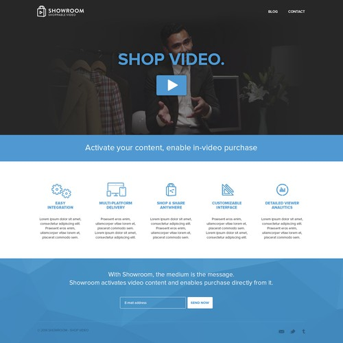 Landing page for interactive video startup