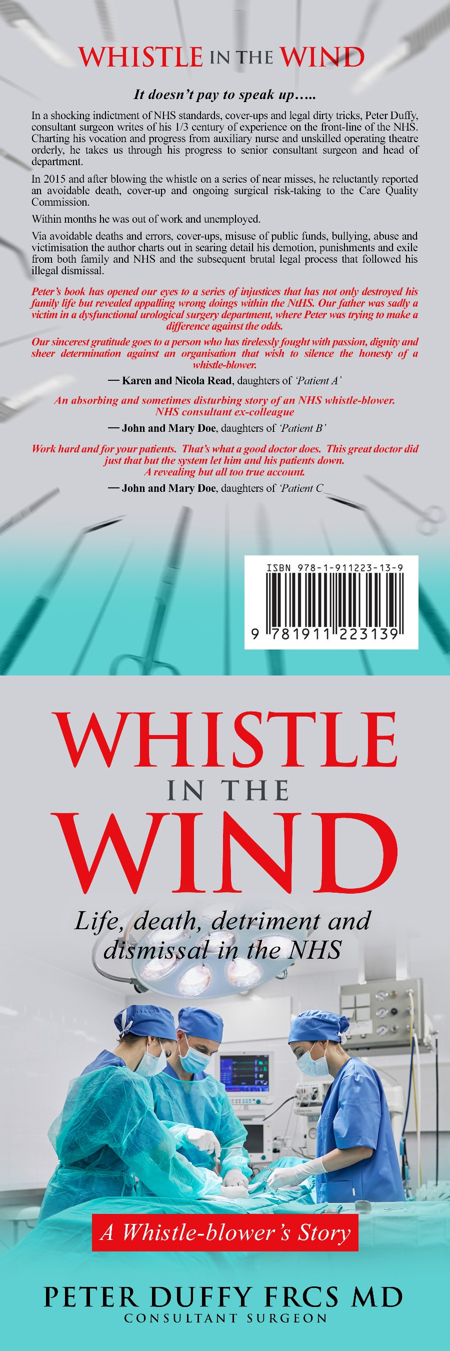 create a clean, professional ebook cover for a whistle-blowing surgeon