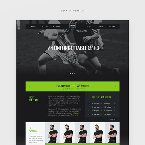 Wordpress theme design for a sports/soccer club (part1)